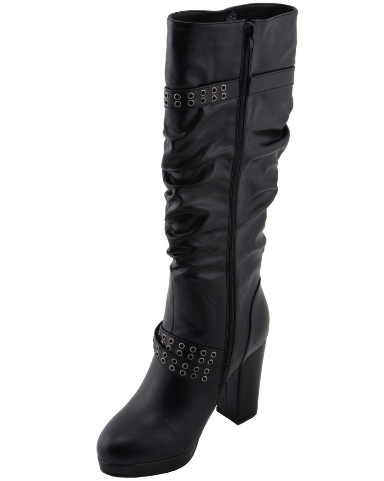 Milwaukee Leather Women's Slouch Platform Boots - Round Toe, Black, hi-res