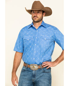 Stetson Men's Blue Filagree Geo Print Short Sleeve Western Shirt , Blue, hi-res