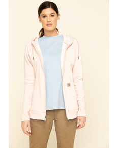 Carhartt Women's Heather Rose Full Zip Hoodie Sweatshirt , Rose, hi-res