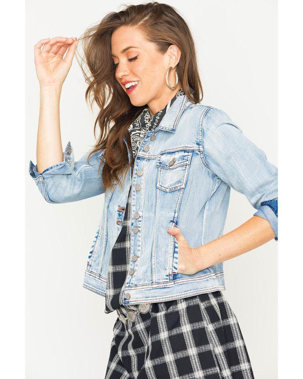 Ryan Michael Women's Denim Double Button Jacket , Indigo, hi-res