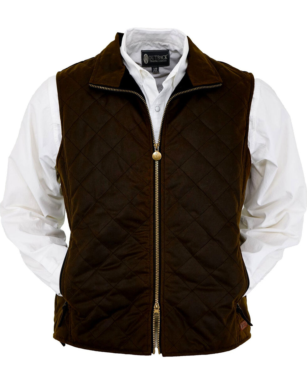 Outback Trading Co. Men's Bronze Harrington Quilted Vest , Bronze, hi-res