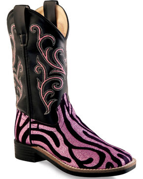 Old West Girls' Pink Zebra Design Western Boots - Square Toe, Zebra, hi-res