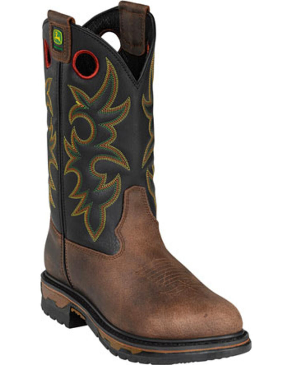 John Deere Western Embroidered Work Boots, Tan, hi-res