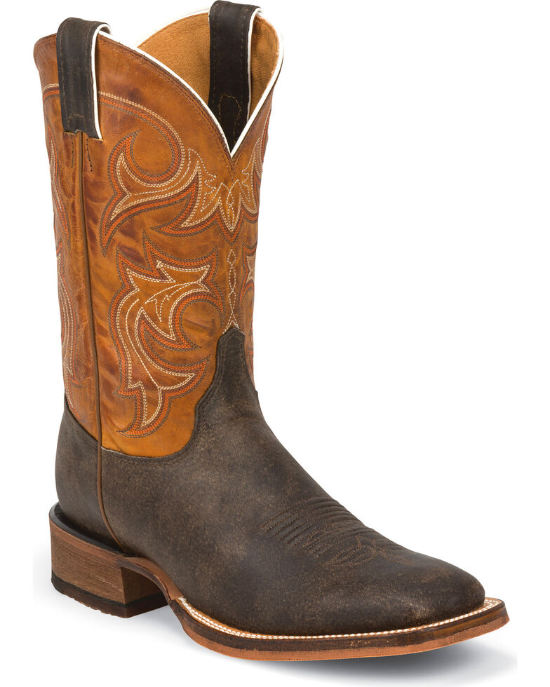 Justin Men's Bent Rail Western Boots, Dark Brown, hi-res