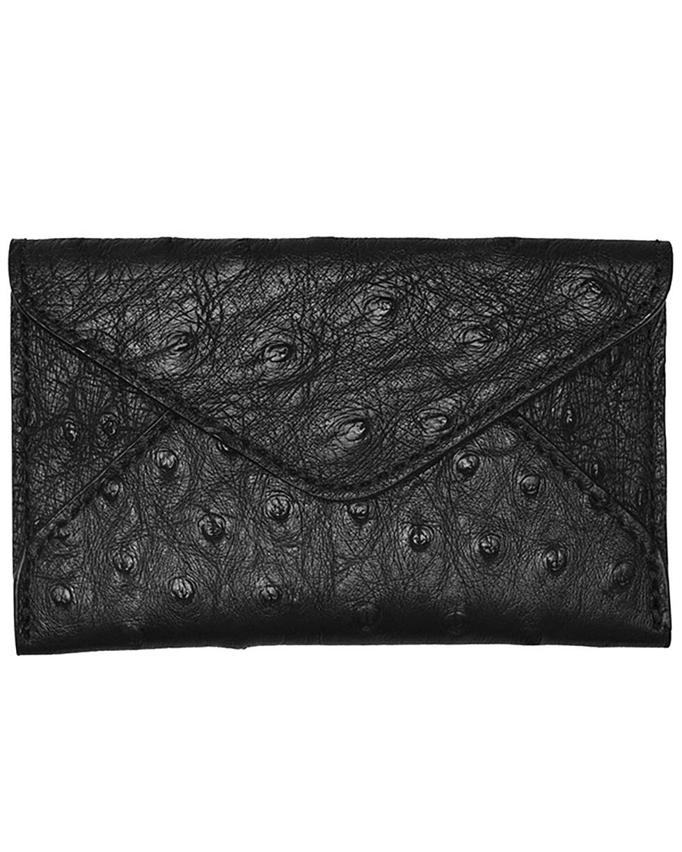 Lucchese Men's Black Ostrich Business Card Case, Black, hi-res