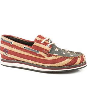 Roper Women's American Beauty Leather Boat Shoes - Moc Toe, Blue, hi-res