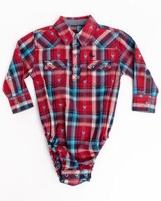 Cody James Infant Boys' Bull Dobby Plaid Long Sleeve Onesie , Red, hi-res