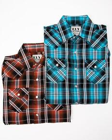Ely Cattleman Boys' Assorted Multi Plaid Woven Long Sleeve Western Shirt , Multi, hi-res