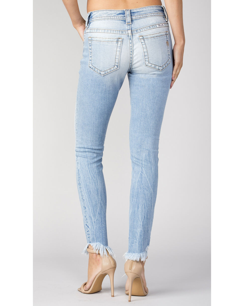 Miss Me Women's Frayed-Hem Exposed Button Skinny Jeans , Indigo, hi-res
