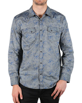 Moonshine Spirit Men's Wishbone Printed Long Sleeve Shirt, Light Blue, hi-res