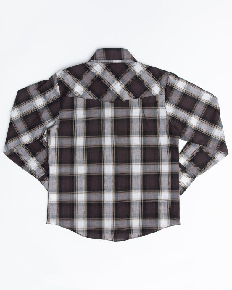 Ely Cattleman Boys' Assorted Multi Textured Dobby Plaid Long Sleeve Western Shirt, Multi, hi-res