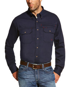 Ariat Men's Navy FR Solid Vent Long Sleeve Work Shirt , Navy, hi-res