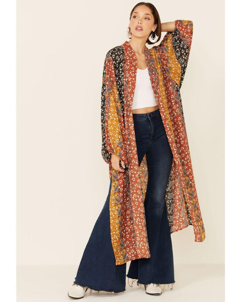Shyanne Women's Rust & Navy Boho Floral Stripe Kimono, White, hi-res