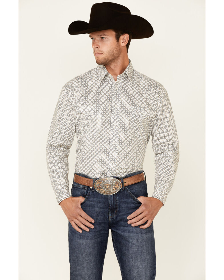 Rough Stock By Panhandle Men's Sand Aztec Geo Print Long Sleeve Snap Western Shirt, Sand, hi-res