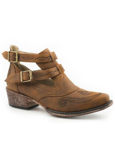 Roper Women's Vintage Cognac Harness Strap Fashion Booties - Round Toe, Tan, hi-res