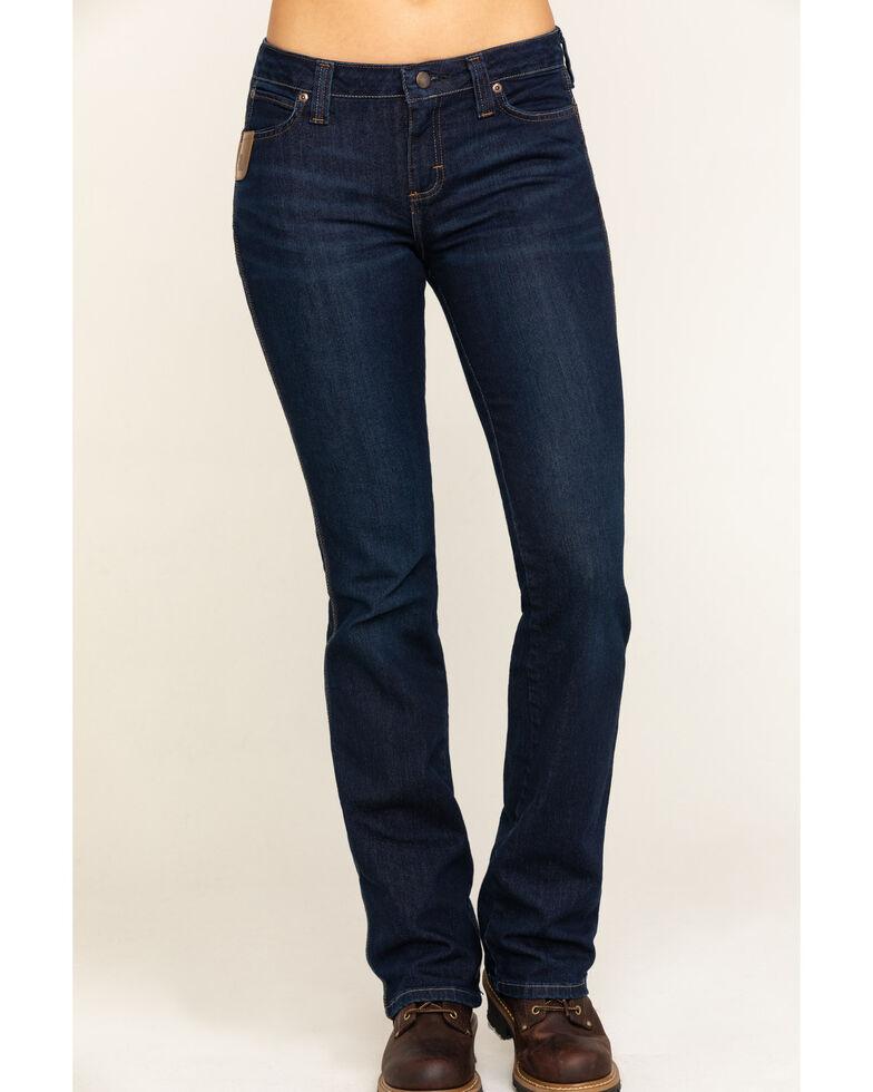Wrangler Riggs Women's Dark 5 Pocket Bootcut Work Jeans , Blue, hi-res