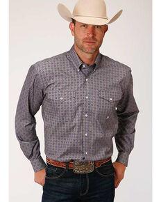 Amarillo Men's Moonshadow Foulard Geo Print Button Long Sleeve Western Shirt , Grey, hi-res