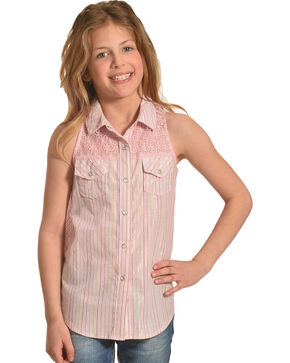 Shyanne Girls' Shiny Striped Crochet Sleeveless Top, Pink, hi-res