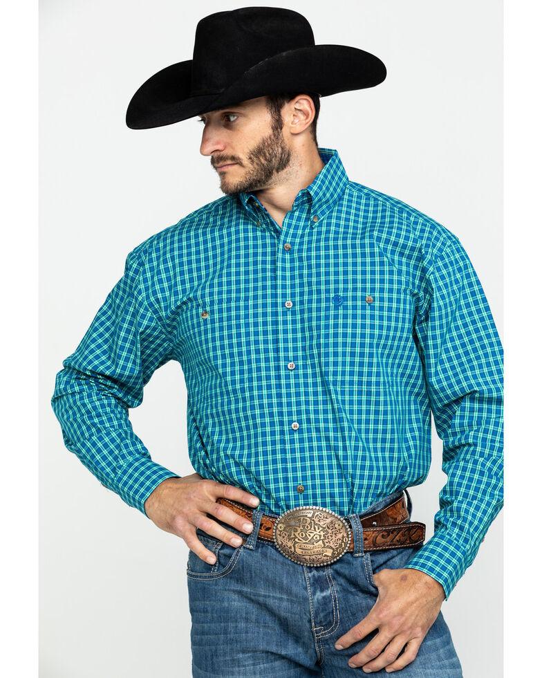 George Strait by Wrangler Men's Royal Blue Check Plaid Long Sleeve Western Shirt - Big , Royal Blue, hi-res