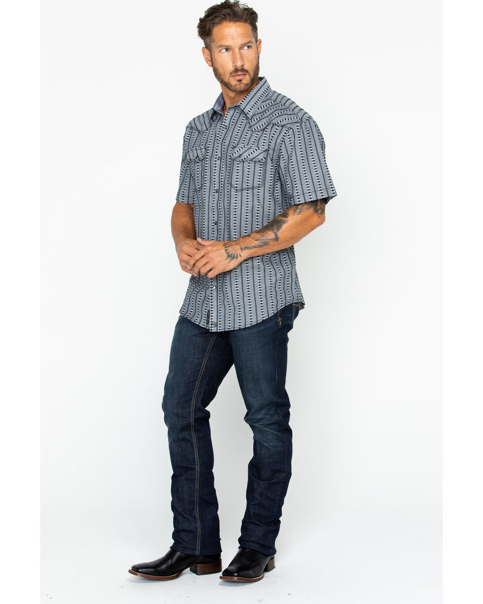 Moonshine Spirit Men's Rio Secco Striped Short Sleeve Western Snap Shirt, Black, hi-res
