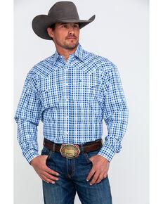 Stetson Men's Small Check Plaid Long Sleeve Western Shirt , Blue, hi-res