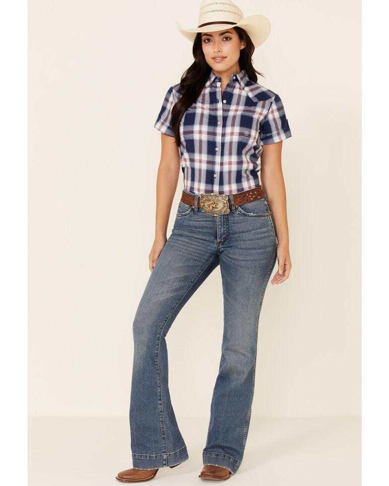 Roper Women's Summer Blues Plaid Short Sleeve Button-Down Western Shirt , Blue, hi-res