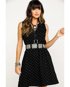 Stetson Women's Black Horseshoe Print Sleeveless Dress, Black, hi-res