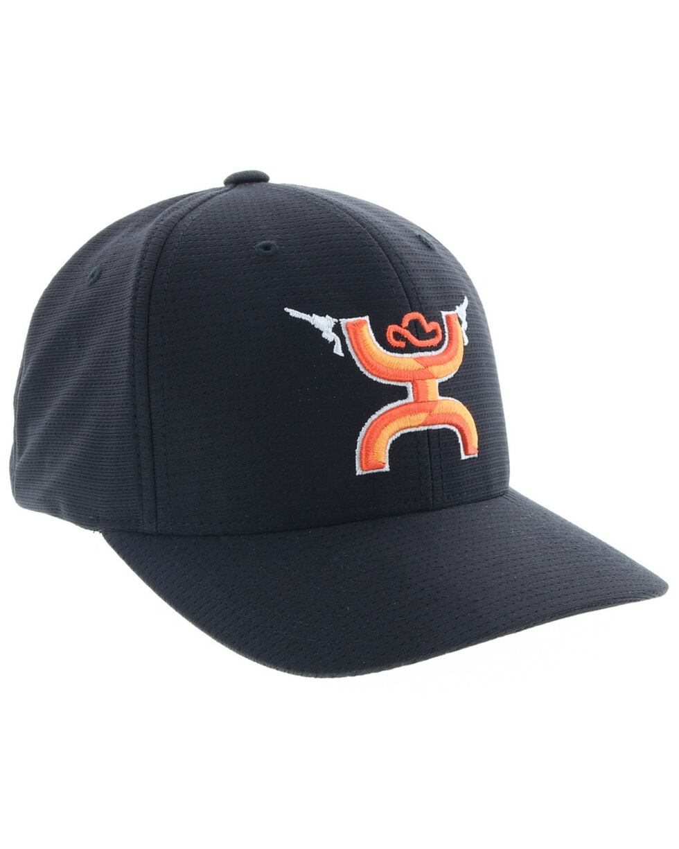 HOOey Men's Gunner Orange logo Cap, Black, hi-res