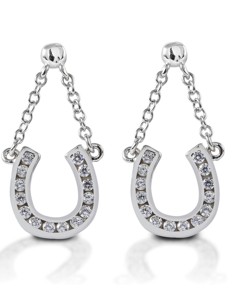 Kelly Herd Women's Horseshoe Dangle Earrings , Silver, hi-res