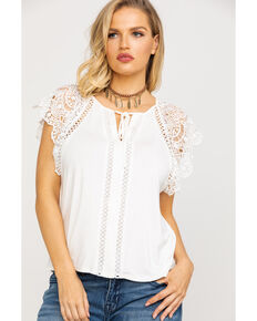 6530b0ac09e1b Miss Me Women s White Lace Short Sleeve Top