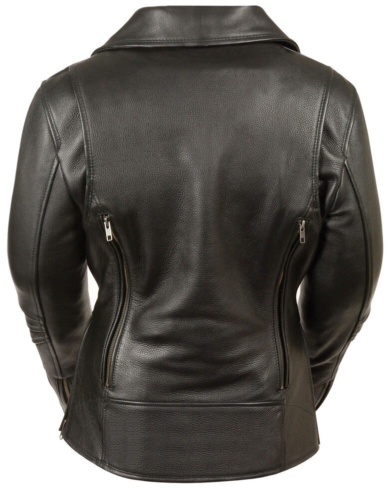 Milwaukee Leather Women's Long Length Vented Biker Leather Jacket - 5X, Black, hi-res