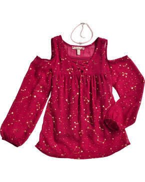 Speechless Girls' Burgundy Zodiac Print Cold Shoulder Top , Burgundy, hi-res