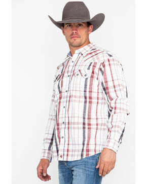 Moonshine Spirit Men's Red Dragon Plaid Long Sleeve Western Shirt, White, hi-res