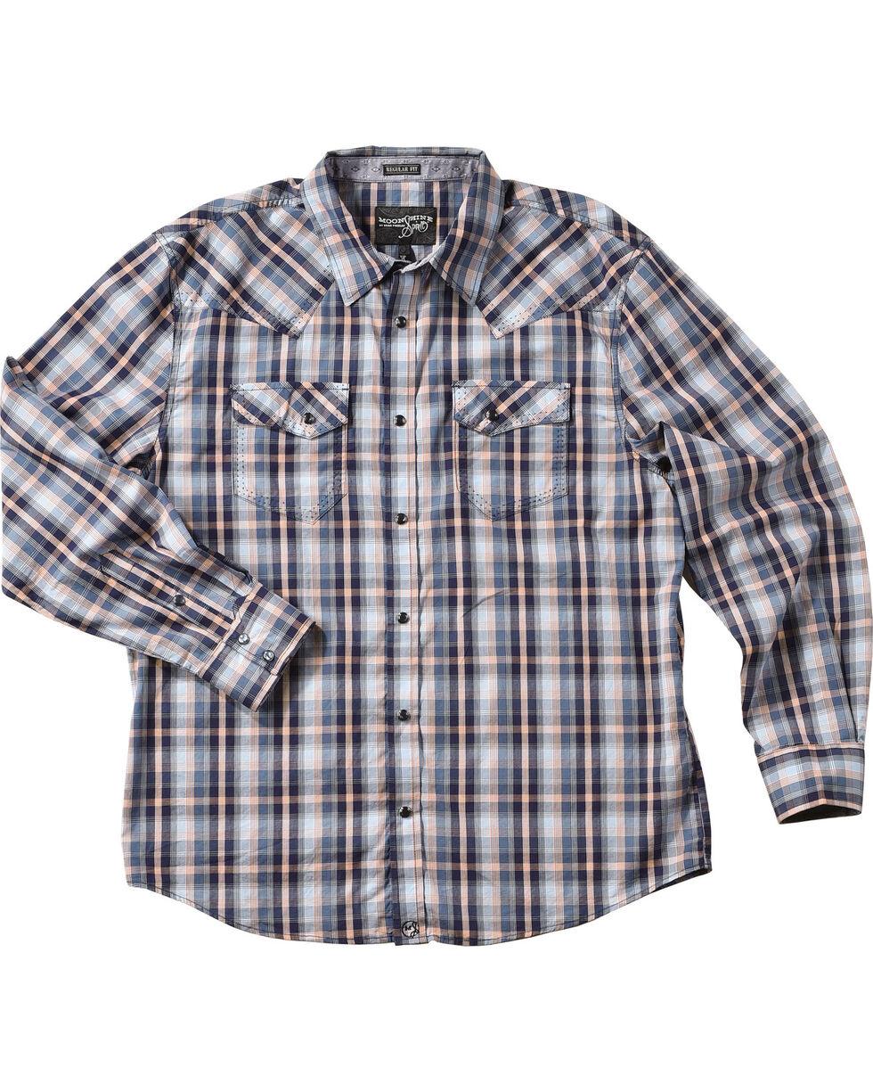 Moonshine Spirit® Men's Plaid Western Long Sleeve Shirt, Blue, hi-res