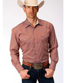 Roper Men's Amarillo Clay Foulard Geo Print Long Sleeve Western Shirt , Orange, hi-res