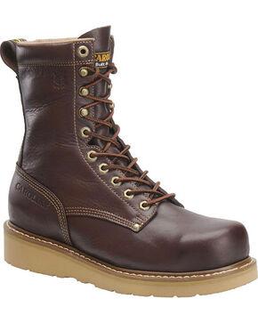 """Carolina Men's 8"""" Broad Toe Wedge Work Boots, Dark Brown, hi-res"""