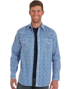 Wrangler 20X Men's Blue Paisley Advanced Comfort Long Sleeve Western Shirt , Blue, hi-res