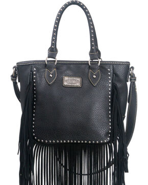 Montana West Trinity Ranch Fringe Design Handbag, Black, hi-res