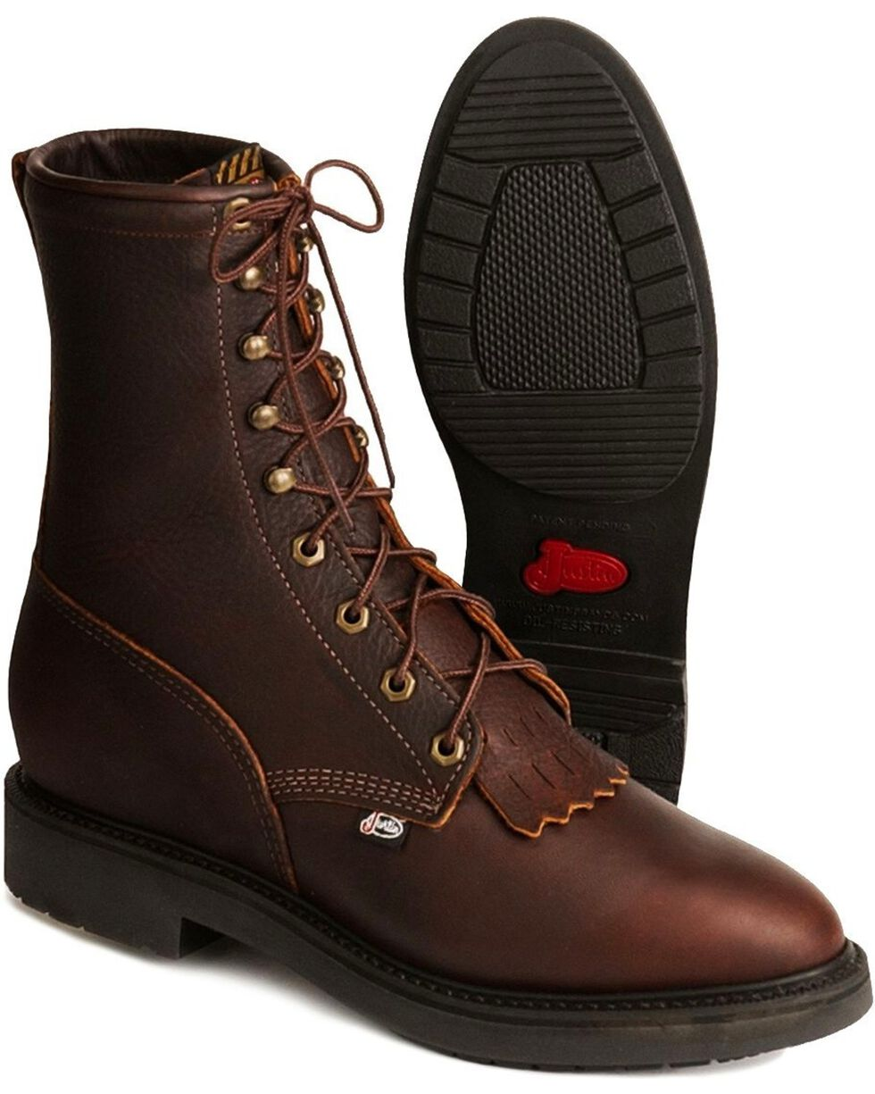 Justin Men's Lace Up Work Boots, Tobacco, hi-res