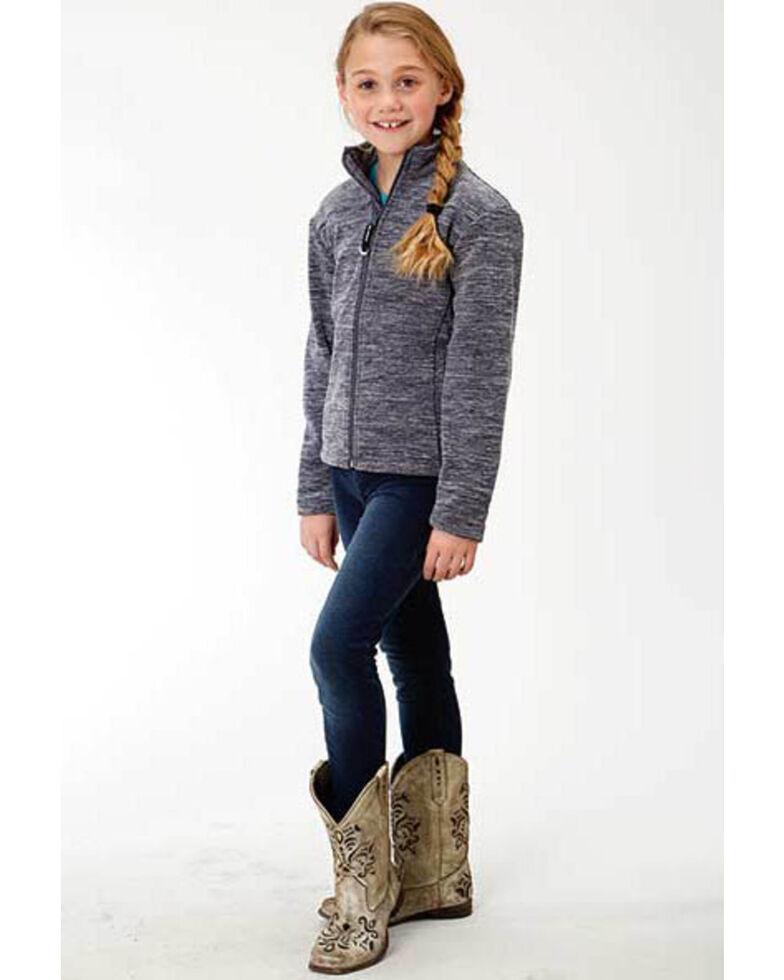 Roper Girls' Navy Micro Fleece Jacket, Blue, hi-res