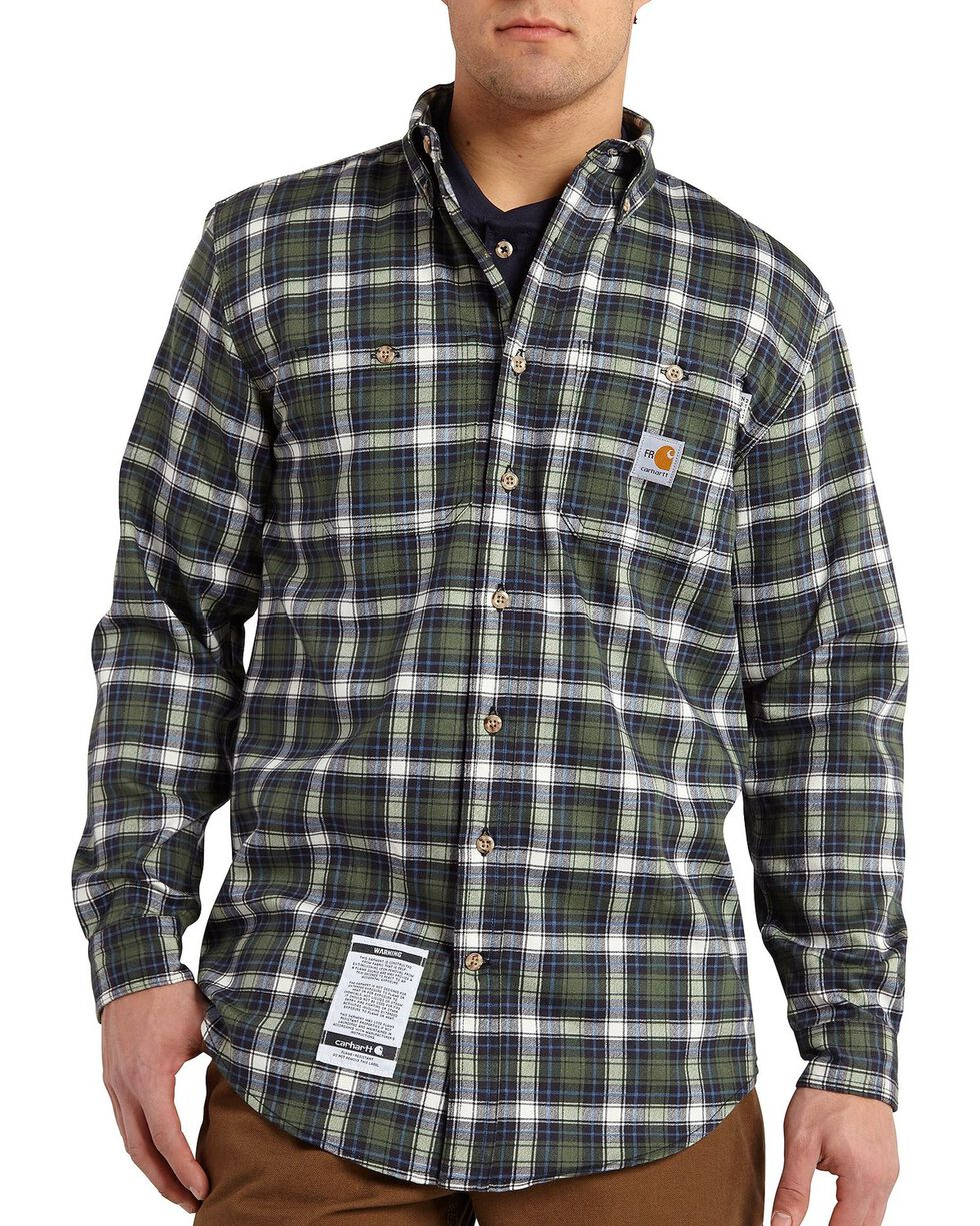 Carhartt Men's Flame Resistant Plaid Long Sleeve Shirt, Moss, hi-res