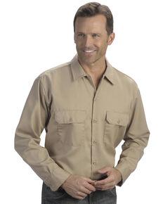Dickies Men's Solid Twill Long Sleeve Work Shirt - Folded , Khaki, hi-res