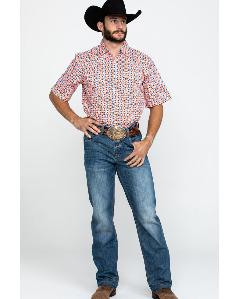 Wrangler 20X Men's Advanced Comfort Coral Aztec Print Long Sleeve Western Shirt , Coral, hi-res