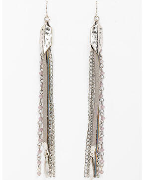 Shyanne Women's Feather Linear Chain Fringe Earrings, Silver, hi-res