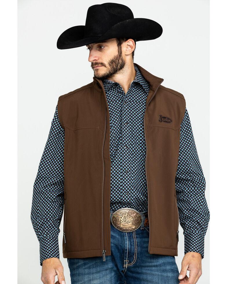 Justin Men's Chocolate Laminated Bonded Vest , Chocolate, hi-res