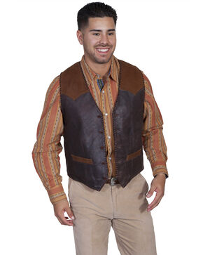 Scully Men's Suede Yoke Vest , Coffee, hi-res