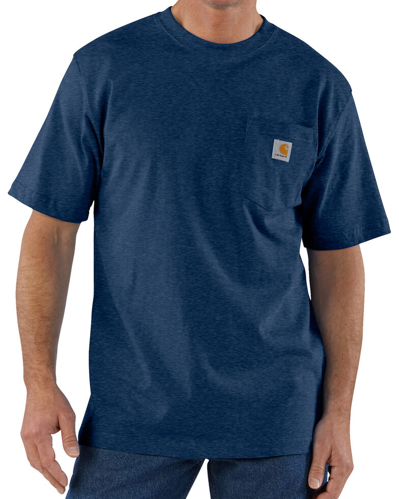 Carhartt Men's Workwear Pocket Short Sleeve Work T-Shirt, Dark Blue, hi-res