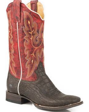 Roper Women's Cocabelly Burnished Caiman Cowgirl Boots - Square Toe, Brown, hi-res
