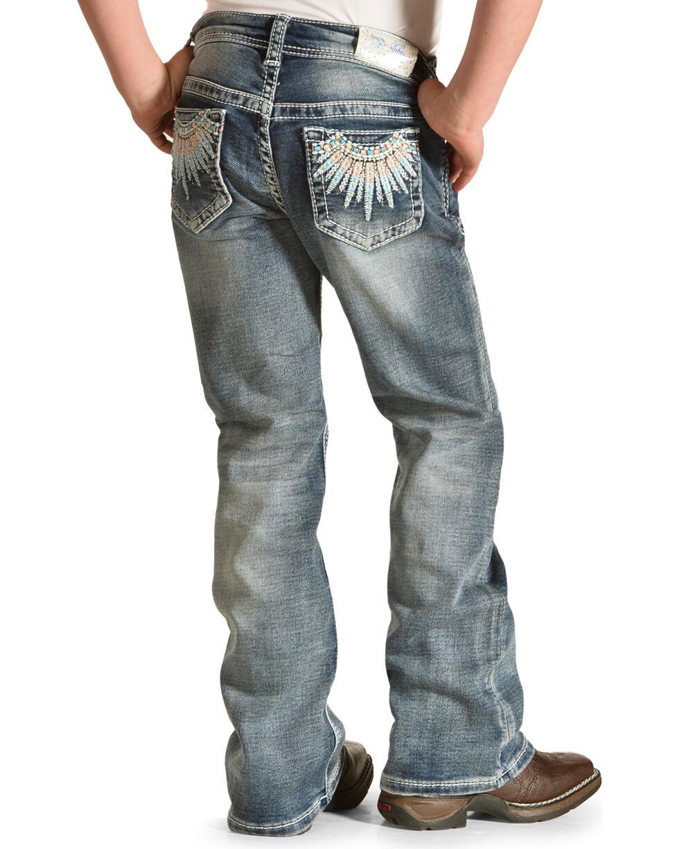Grace in LA Girls' Feather Pocket Boot Cut Jeans, Blue, hi-res