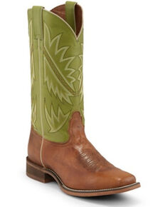 Nocona Men's Go Round Green Western Boots - Square Toe, Tan, hi-res